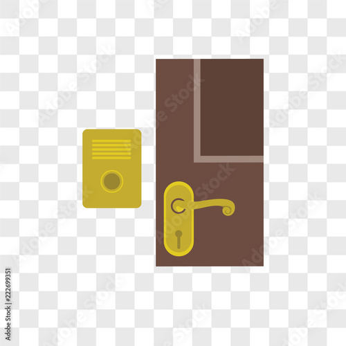 фотографія  Doorbell vector icon isolated on transparent background, Doorbell logo design