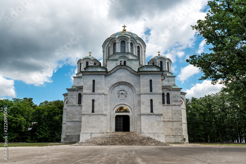 Saint George`s Church Oplenac, is the mausoleum of the Serbian and Yugoslav royal house of Karadjordjevic, on top of the Oplenac Hill, city of Topola Canvas Print