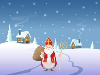 Saint Nicholas or Sinterklaas is coming to village - Winter landscape at night