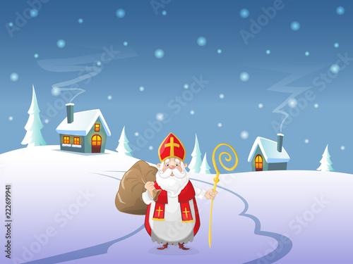 Printed kitchen splashbacks Light blue Saint Nicholas or Sinterklaas is coming to village - Winter landscape at night