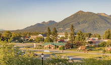 Palmer Visitor Information Center And A View Of The Chugach Range In Summertime, Palmer, Alaska, USA.
