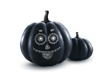 Black Vector Halloween Pumpkin...