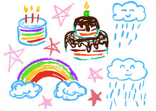 Children's Drawing With Colored Wax Crayons. Design Elements Of Packaging, Postcards, Wraps, Covers. Sweet Children's Creativity. Cake, Candles, Sweets, Birthday, Stars, Clouds, Rainbow, Rain