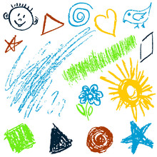 Children's Drawing With Wax Crayons. Design Elements Of Packaging, Postcards, Wraps, Covers. Sweet Children's Creativity. Square, Triangle, Circle, Star, Flower, Sun, Grass, Bird, Spiral, Star, Face