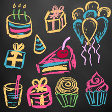 Children's Drawings. Elements For The Design Of Postcards, Backgrounds, Packaging. Color Chalk On A Blackboard. Birthday,  Sweets, Balls, Gifts