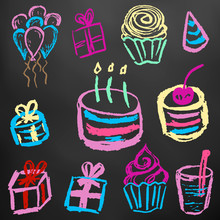 Children's Drawings. Elements For The Design Of Postcards, Backgrounds, Packaging. Color Chalk On A Blackboard. Birthday, Cake, Sweets, Balls, Gifts