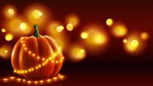 Realistic Pumpkin Vector Illustration With Orange Lights Garlands On Dark Background. Holiday Greeting Card.