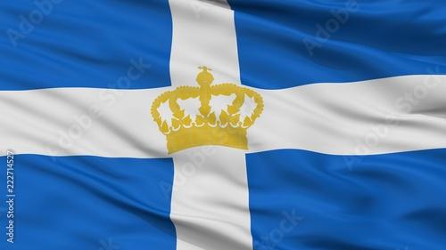 Fotografia  Hellenic Kingdom 1935 Flag, Closeup View, 3D Rendering