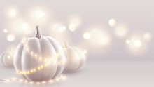 White Realistic Pumpkins And W...
