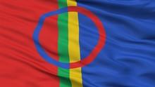 Sami Scandinavia Flag, Closeup View, 3D Rendering