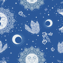 Bohemian Seamless Pattern With Sun, Moon, Crystals And Flowers. Vintage Style. Gypsy And Folk Motifs.