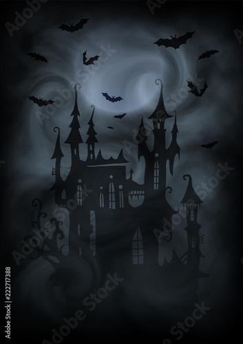 Keuken foto achterwand Begraafplaats Black and white halloween poster vector background with dark vampire castle silhouette, moon and bats in gray fog