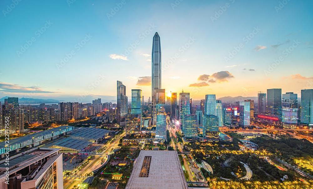Fototapety, obrazy: Shenzhen city scenery alternating around the clock