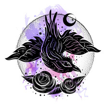 Boho Illustration With Cute Little Crow And Roses At Watercolor Background. Flash Tattoo Style