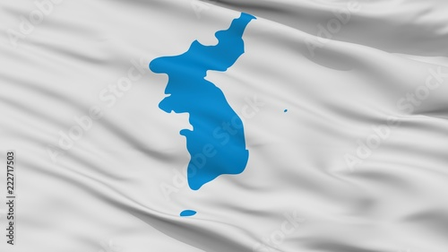 Fotografie, Obraz  Unification Korea Flag, Closeup View, 3D Rendering