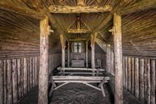Interior Of A Sod Viking Church At L'Anse Aux Meadows In Newfoundland