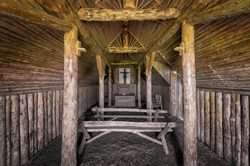 Interior of a sod Viking church at L'Anse aux Meadows in Newfoundland