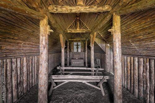 Obraz na plátně  Interior of a sod Viking church at L'Anse aux Meadows in Newfoundland