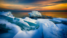 Broken Ice And Snow In Lake Superior Winter