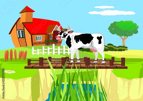 Cow standing on the bridge over the river, countryside landscape vector illustration