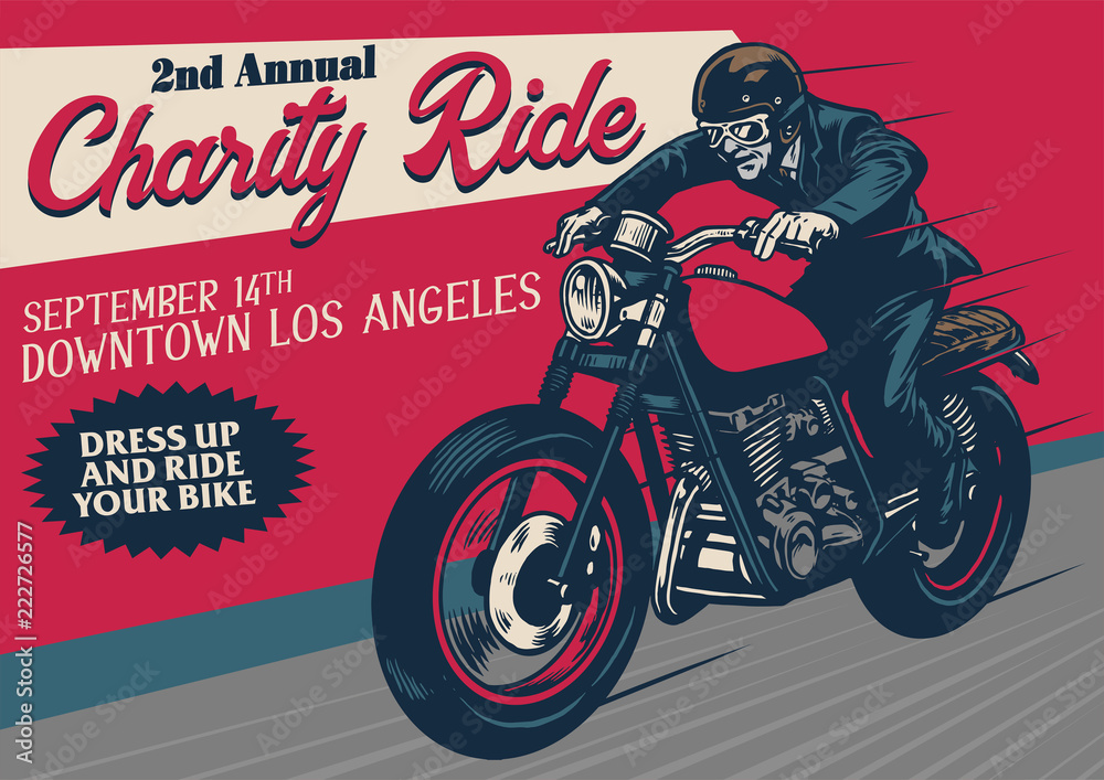 Fototapeta old style motorcycle event poster