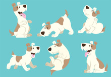 Jack Russel Terrier Dog Cartoon Set