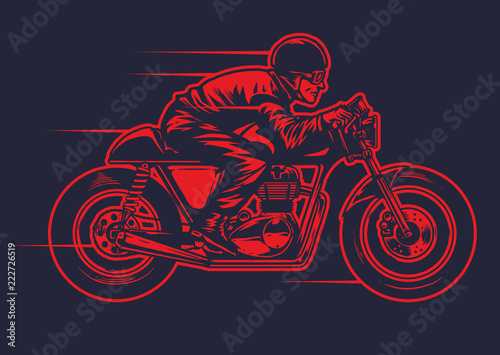 Cuadros en Lienzo hand drawing od man riding old cafe racer motorcycle