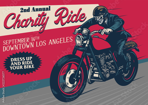 Fotomural old style motorcycle event poster