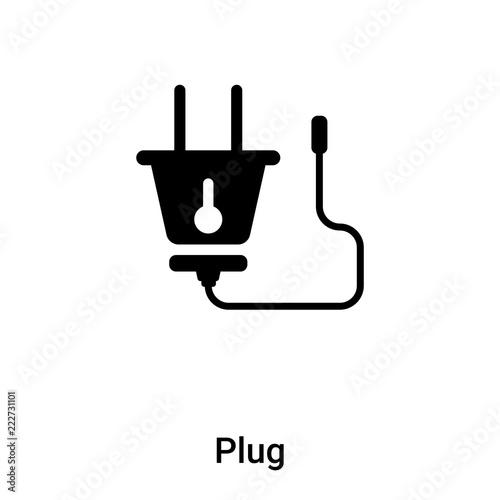 Plug icon vector isolated on white background, logo concept of Plug sign on transparent background, black filled symbol Fototapete