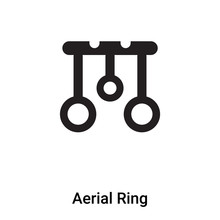 Aerial Ring Icon Vector Isolated On White Background, Logo Concept Of Aerial Ring Sign On Transparent Background, Black Filled Symbol