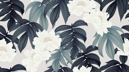 FototapetaBotanical seamless pattern, white paenia lactiflora flowers and leaves on light brown background