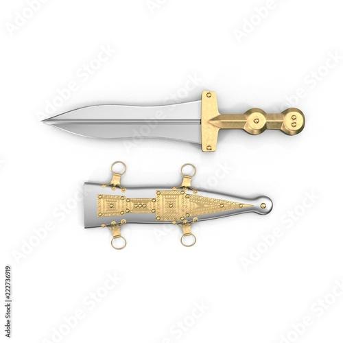 Fotografia, Obraz  Roman Pugio Dagger with Sheath on white