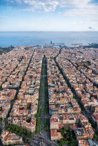Barcelona aerial view with city skyline, Spain
