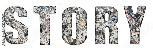 the word STORY made up of lots of cut up newspaper Canvas Print