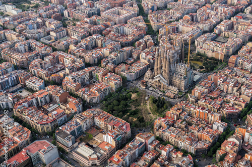 Aerial view of Barcelona Eixample residencial district, Spain