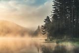 Morning fog on the lake, sunrise shot - 222742706