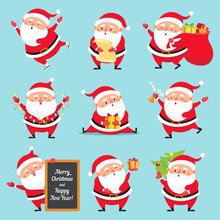 Cartoon Santa Claus. Christmas Holiday Greeting Card Character. Funny Winter Holidays Characters Flat Vector Set