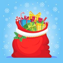 Santa Claus Gifts In Bag. Chri...
