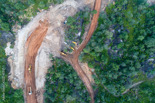 Fotografija  Deforestation aerial photo. Rainforest jungle in Borneo