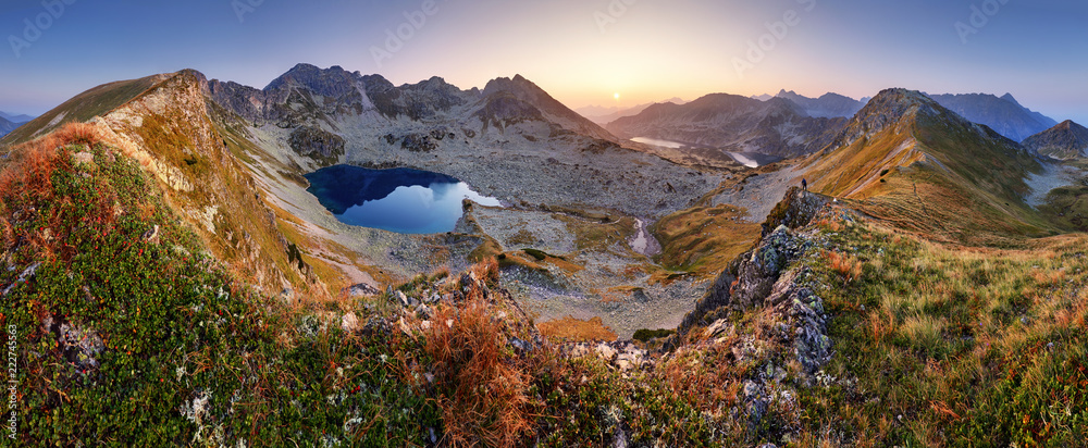 Fototapety, obrazy: Mountain landcape panorama at summer with lake in Tatras, Poland