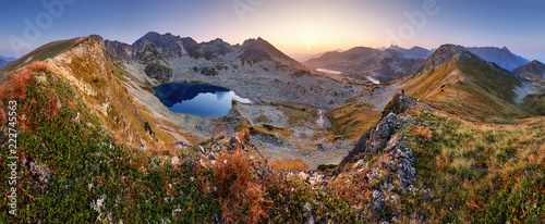 Mountain landcape panorama at summer with lake in Tatras, Poland Wallpaper Mural
