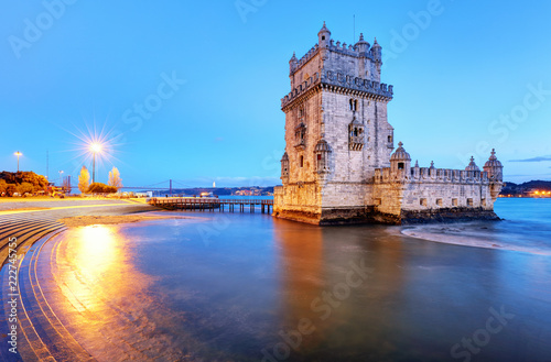 Poster Centraal Europa Belem tower, Lisbon - Portugal at night