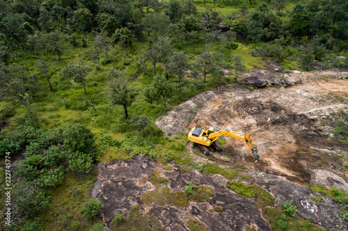 Fotografia, Obraz  Deforestation aerial photo. Rainforest jungle in Borneo