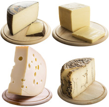 Set Of Loafs Of Emmentaler, Cheese With Truffles, Manchego,Edamer, Mimollete Isolated.
