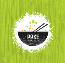 Poke Bowl Hawaiian Cuisine Restaurant Vector Design Element. Healthy Food Menu Creative Rough Illustration