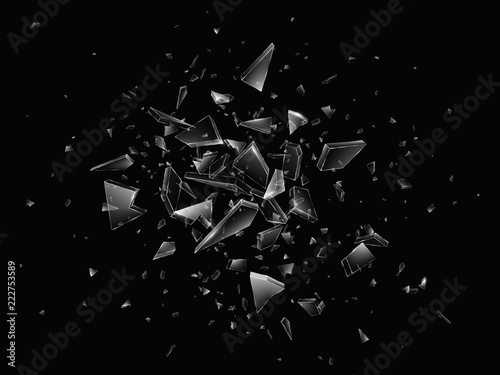 Shards of broken glass. Abstract explosion. Realistic vector background - fototapety na wymiar