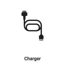 Charger Icon Vector Isolated On White Background, Logo Concept Of Charger Sign On Transparent Background, Black Filled Symbol