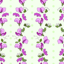 Sweet Pea Flowers And Leaves Vertical Style Seamless Vector Pattern With Green Polka Dots