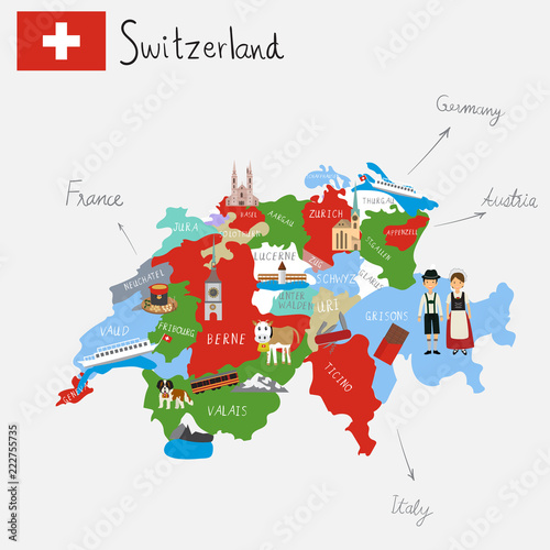 Hand drawing Switzerlamd maps with hand lettering Billede på lærred