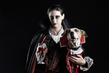 Woman And Her Dog In Similar V...